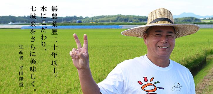 「米心」の生産者、平田隆重さんの写真