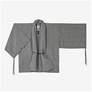 【傾衣】知多木綿 綿麻 絽 宮中袖 短衣 単/鈍色