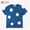 【le coq sportif】たばた絞り 半袖Tシャツ/水玉大 紺青×つくも