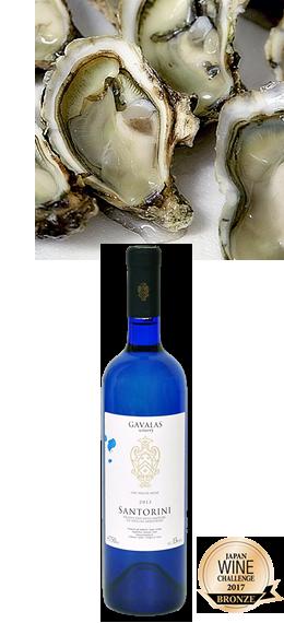 ネラルが豊富でシャープな白ワインのガバラスサントリー二にはフレッシュオイスターを合わせて。