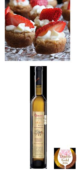 【メリティス デザートワイン】甘いものには甘いデザートワインを。高い酸味、薔薇、はちみつ、桃やキャラメルの香りもお楽しみください。