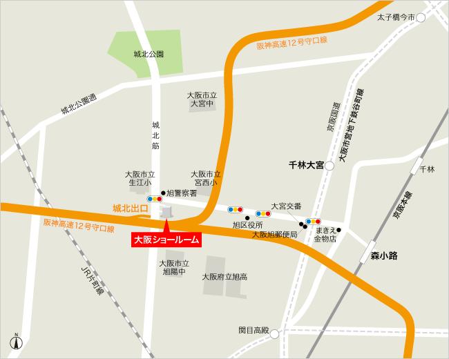 ショールーム大阪店のアクセスマップ