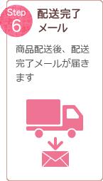 Step 6 配送完了メール 商品配送後、配送完了メールが届きます