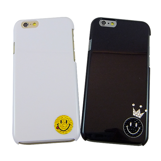 iPhoneケースデコ、スマホケースデコ、スマホケース手帳、iPhoneケースブランド、スマホケースブランド、デコレーションデザイン20,000点の実績で保証がついて安心のデコブランドBASHバッシュのケースは、スマホケース全機種対応でかわいい人気のケースに変更可能ですiPhone6用ケース スマイリーミニクラウン スワロ ポイント デコ(ブラック)