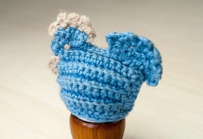 北欧で使われていた、毛糸で編まれたニワトリのエッグカバー(ブルー)/ビンテージ