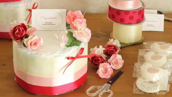 フラワーケーキ ピンク1