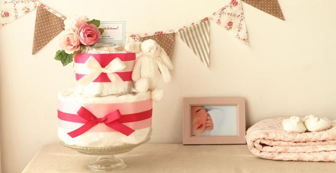 ふわふわウサギのおむつケーキ/2段・ピンク3