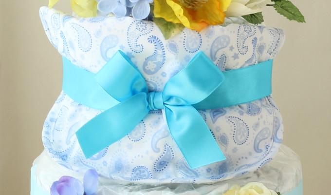 モナザラ ホーム キッズのスタイ付おむつケーキ/2段・ブルー0
