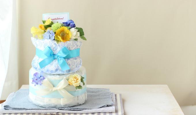 モナザラ ホーム キッズのスタイ付おむつケーキ/2段・ブルー4