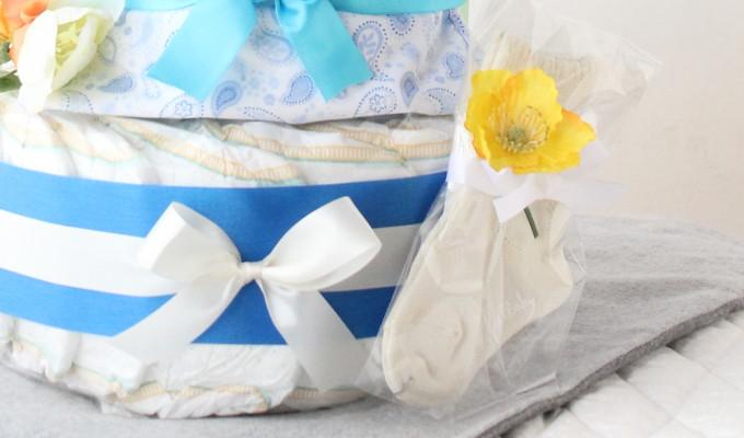 モナ グッズ3点付おむつケーキ/3段・ブルー 3