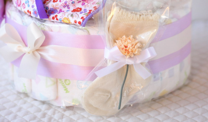 モナ グッズ3点付おむつケーキ/3段・パープル 3