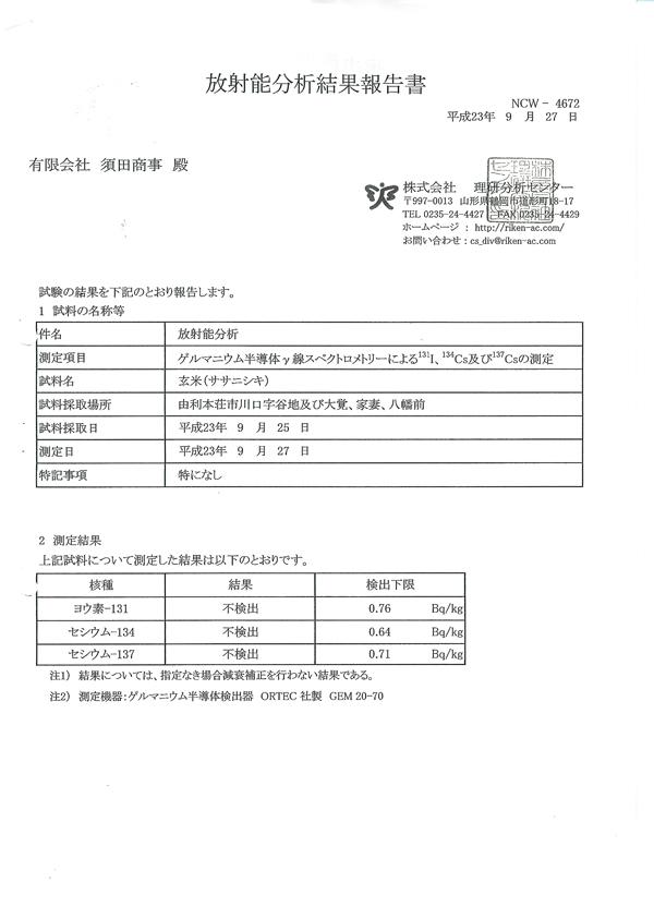 放射線検査結果 由利本荘産 農薬・化学肥料不使用 ササニシキ