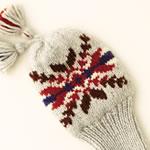 震災支援!雪の結晶模様の手編みのヘッドカバー