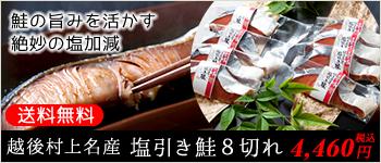 越後村上名産 塩引き鮭8切れ 鮭の旨みを活かす絶妙の塩加減 送料無料 4,140円(税込)