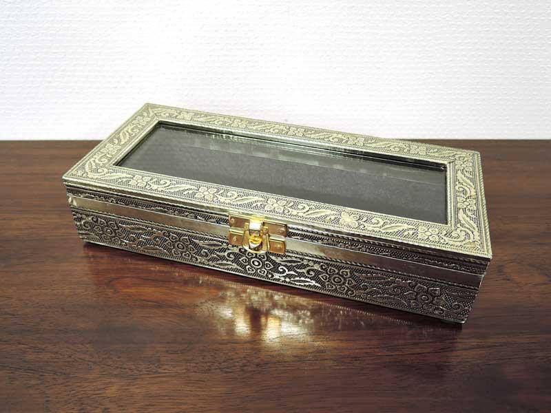 ガラスコレクションボックス アルミ レクタングルケース S