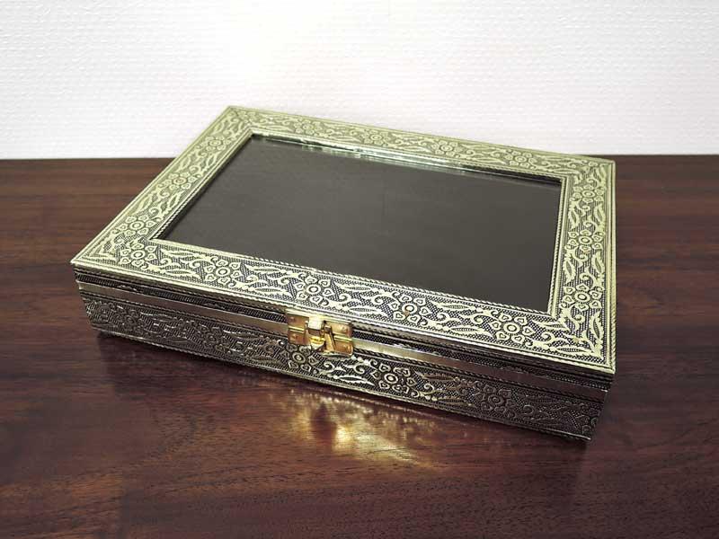 ガラスコレクションボックス アルミ レクタングルケース L
