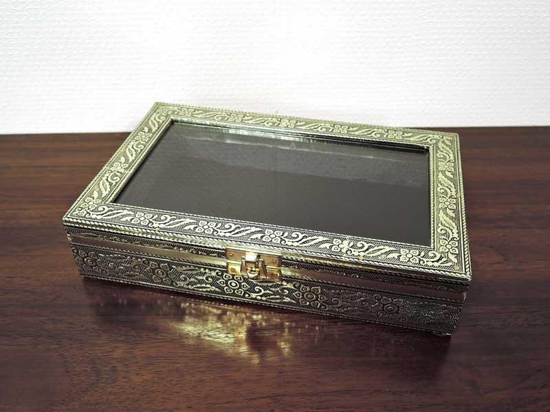 ガラスコレクションボックス アルミ レクタングルケース M