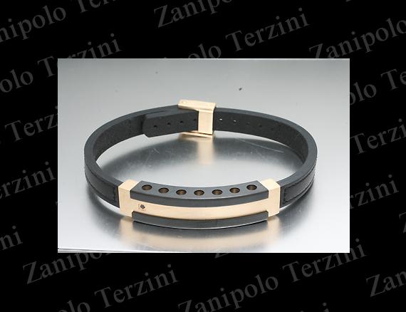 a1470-BK Zanipolo Terzini ザニポロ タルツィーニ ブレスレットブラックダイヤモンドIPブラックチタンコーティング(ブラックステッチ)