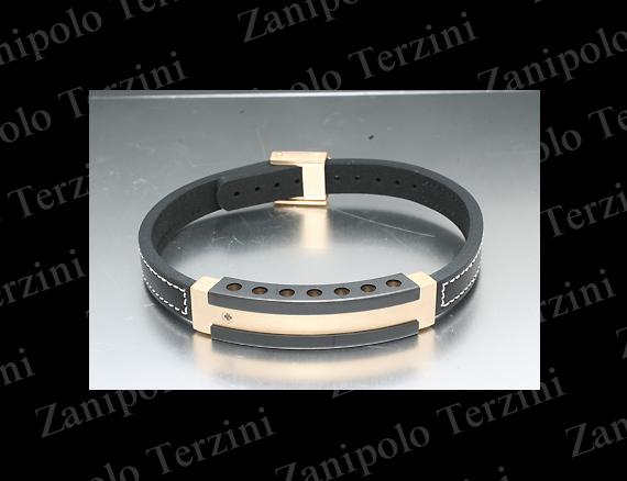 a1470-WH Zanipolo Terzini ザニポロ タルツィーニ ブレスレットブラックダイヤモンドIPブラックチタンコーティング(ホワイトステッチ)