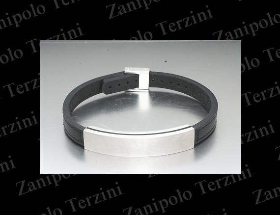 a1475-BK Zanipolo Terzini ザニポロ タルツィーニ ブレスレットIPブラックチタンコーティング(ブラックステッチ)