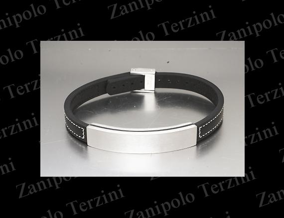 a1475-WH Zanipolo Terzini ザニポロ タルツィーニ ブレスレットIPブラックチタンコーティング(ホワイトステッチ)