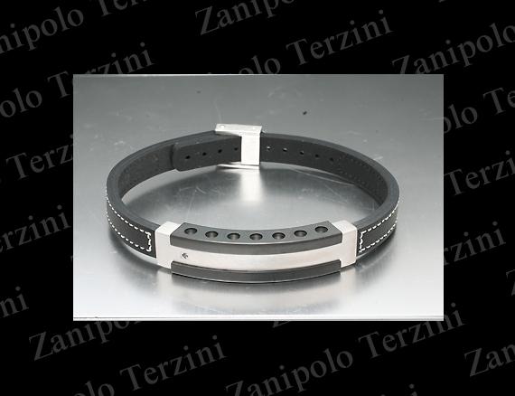 a1476-WH Zanipolo Terzini ザニポロ タルツィーニ ブレスレットブラックダイヤモンドIPブラックチタンコーティング(ホワイトステッチ)