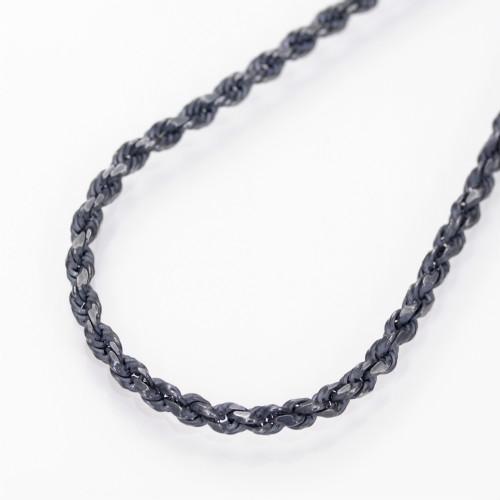 ブラック(燻し)カットフレンチロープチェーンネックレスシルバー925