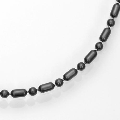 ブラック(燻し)変形ボールチェーンネックレスシルバー925