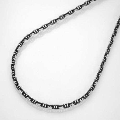 ブラック(燻し)4面カットロロマリーナチェーンネックレスシルバー925