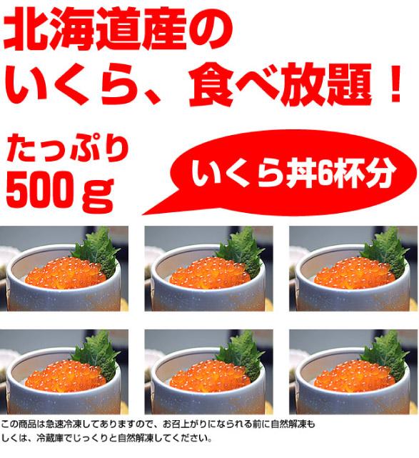 北海道産のいくら食べ放題!たっぷり500gいくら丼約6杯分!