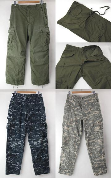 古着ACUカモ(SR)NWUカモ(SR/MR),ジャングルファティーグ(SS),M65デッドストック(SS) 米軍ミリタリーパンツ