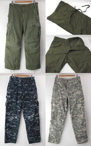 ACUカモ(SR)NWUカモ(SR/MR),ジャングルファティーグ(SS),M65デッドストック(SS) 米軍ミリタリーパンツ