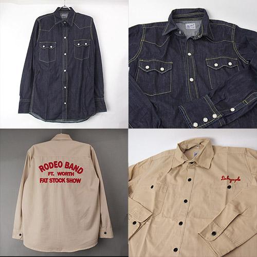 OLDSCHOOL デニムシャツ、バック刺繍ワークシャツ