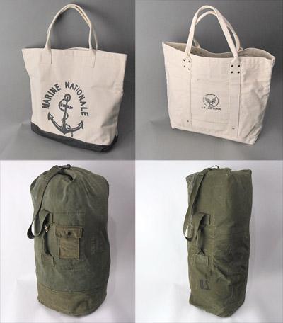 米軍ダッフルバッグと新品キャンバストートバッグ