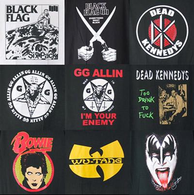 ブラックフラッグ、GGアリン他バンドTシャツ