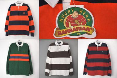 ラガーシャツ、バーバリアン新品、ラルフローレン古着
