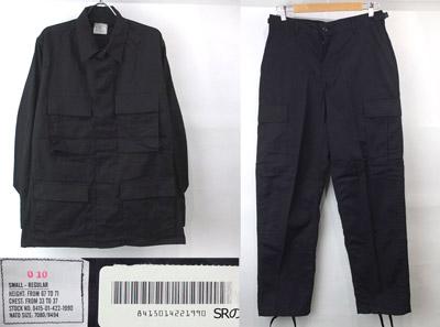 デッドストック 米軍ブラック BDU シャツジャケット・パンツ