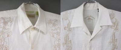 白*花柄刺繍 半袖リネンシャツ