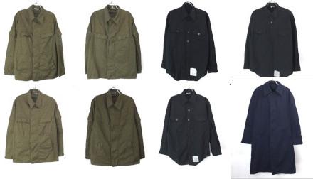 東ドイツ軍レインドロップカモシャツジャケット、米軍ブラックシャツ、ステンカラーコート