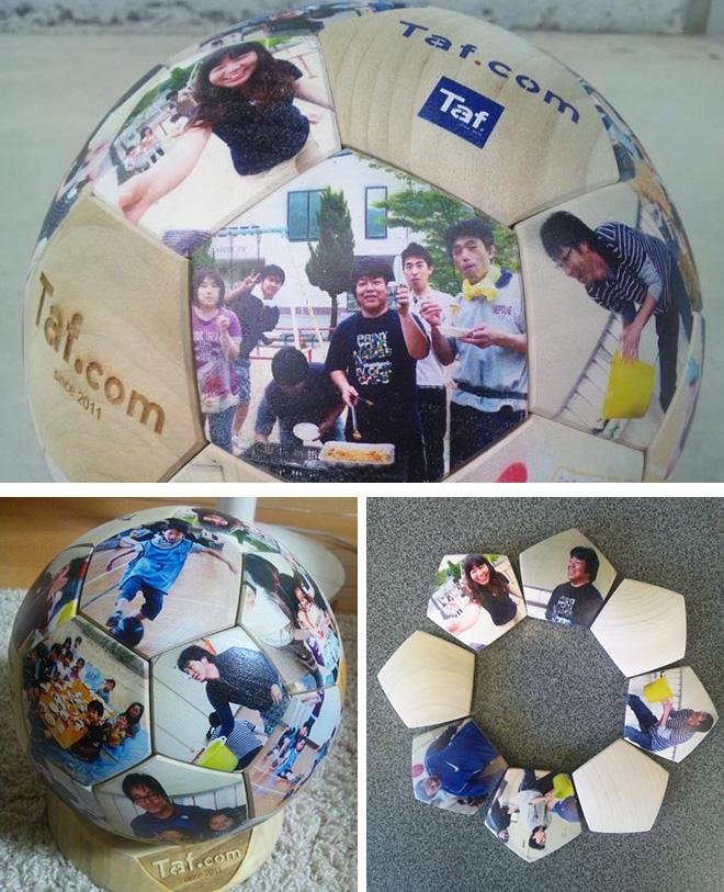 イベント記念の贈り物として木製サッカーボールにUV印刷