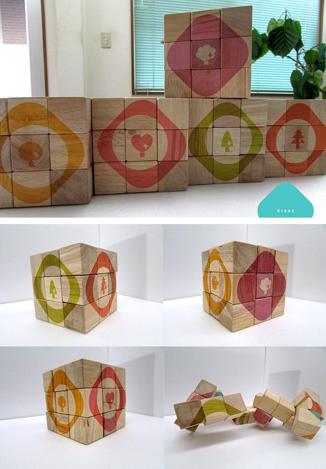 木製ルービックキューブにUV印刷