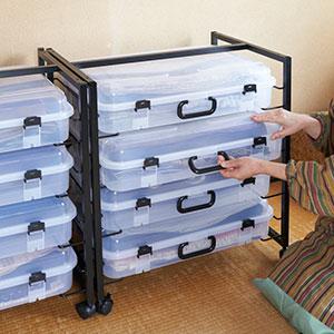 専用ラック+トランク型衣装ケース 4個組