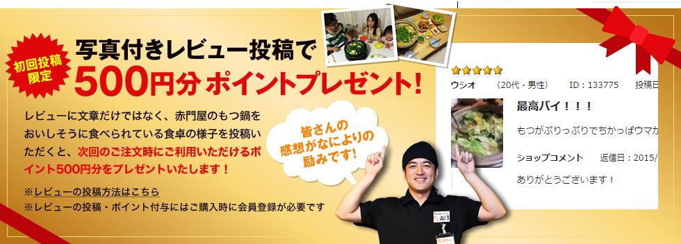 写真付きレビュー投稿で500円分ポイントプレゼント!