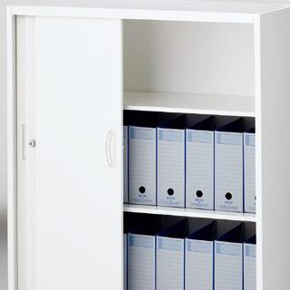 開口部が広い3枚引戸書庫