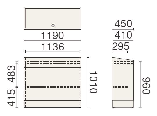 PLUS (プラス) 350シリーズ 講演台 MW-350の形状寸法