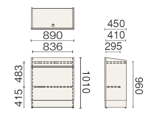 PLUS (プラス) 350シリーズ 講演台 MW-351の形状寸法