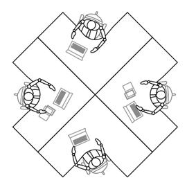 L型ワーク机×4台