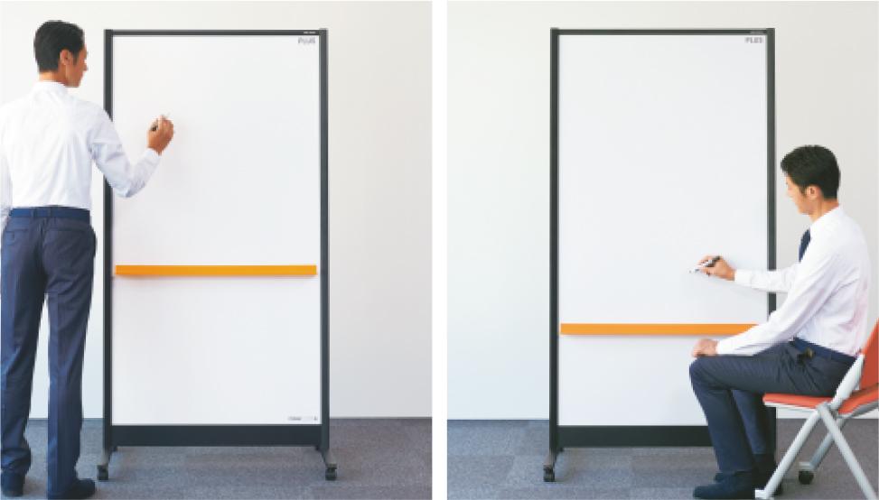 座ったままでも書き込みしやすい省スペースの縦長形状