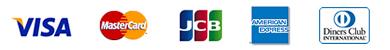 JCB、VISA、MasterCard、American Expressのロゴ