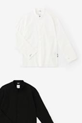 綿麻シャンブレー織 立衿 筒袖襯衣